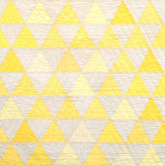 Equilateral Triangles Crib Quilt by CarsonToo on Etsy, $360.00Grey Quilt, Colours Quilt, Crochet Quilt, Crib Quilts, Cheery Quilt, Straight Lin Quilt, Cribs Quilt, Modern Quilt, Quilt Yellow
