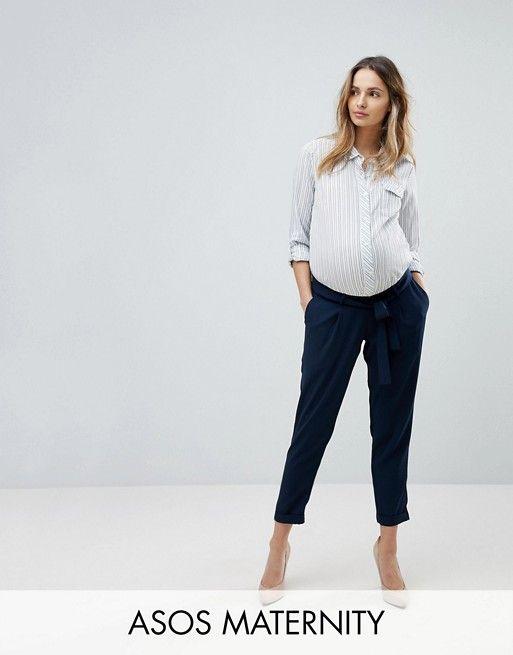 5154ef54e5b8e MATERNITY Woven Peg Pants with OBI Tie   Pregnancy Fashion   Maternity  fashion, Asos maternity, Pants
