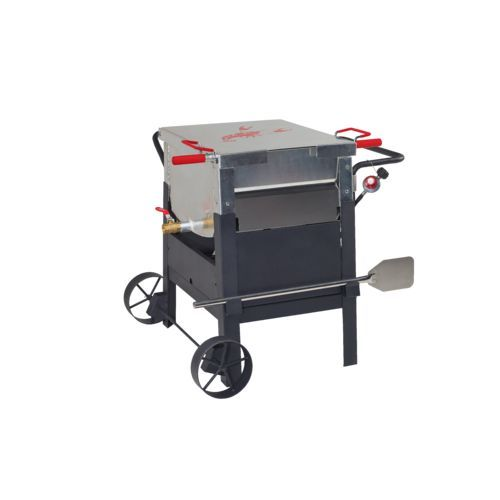 The Outdoor Gourmet™ Single-Sack Crawfish Boiler features aluminum construction and oversize wheels