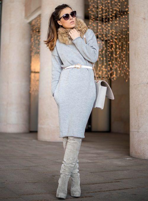 Платье вязанное модное