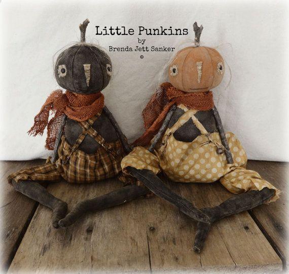 EPATTERN Primitive Folk Art Halloween Pumpkin Doll by ...