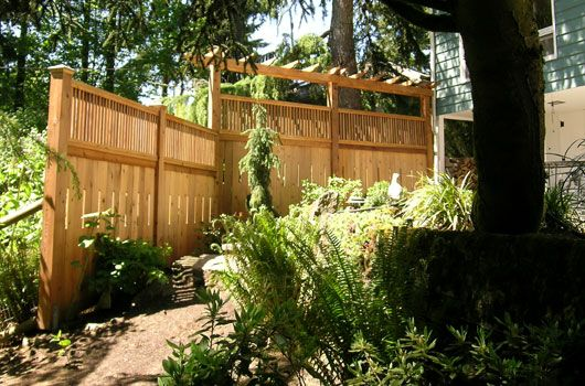 Privacy screen craftsman style fence arbor fence for Craftsman style fence