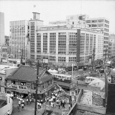 Seoul: Subway construction in front of Midopa Department Store, July 14, 1966