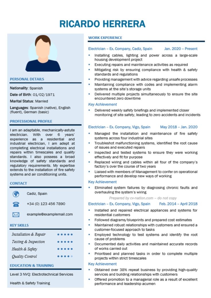 Electrician cv examples and writing guide in 2020 guided