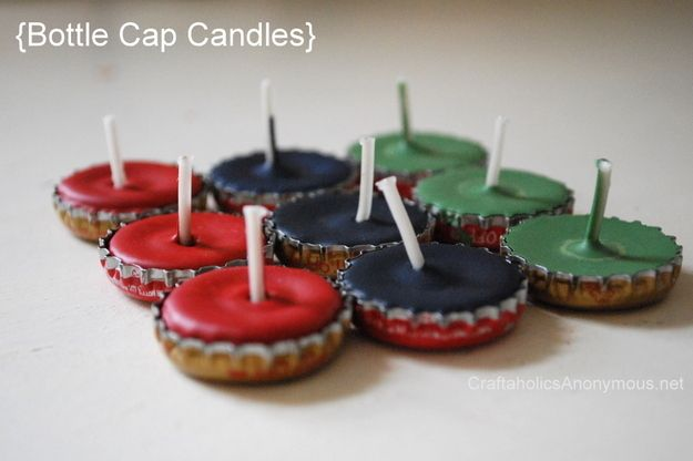 Bottlecap Candles | 20 Rad Things You Can Make With Bottle Caps