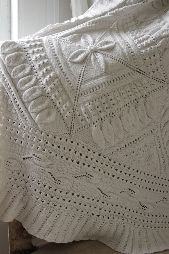 Vintage French hand-made knit knitted bed cover coverlet  cotton 101 X 89 Large  www.textiletrunk.com