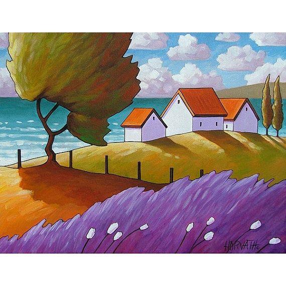 "Fine Art Print by Cathy Horvath 8.5""x11"" Modern Folk Windy Lavender & Trees Summer Sea Cottage Giclee Coastal Landscape Reproduction Artwork"