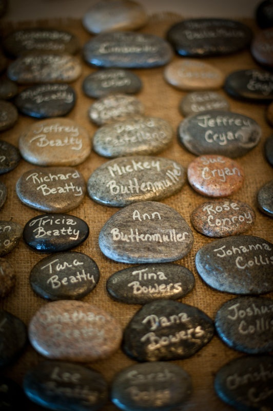 beach stone placecards