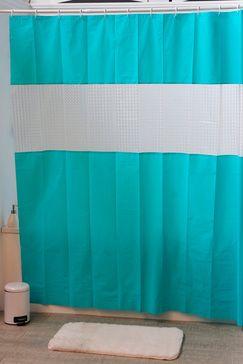Rideau de douche Turquoise et blanc
