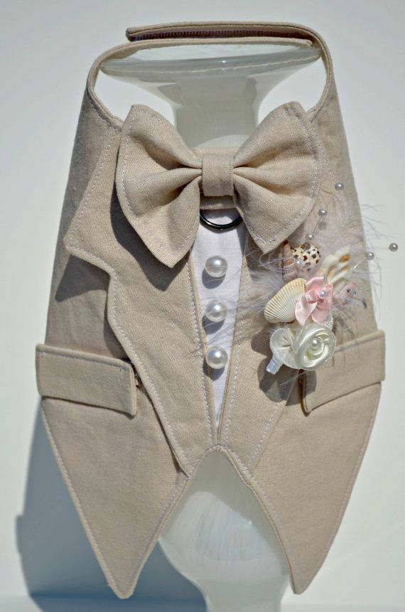 Dog Tuxedo Tan Linen Boy Dog Harness Beach Wedding by KOCouture