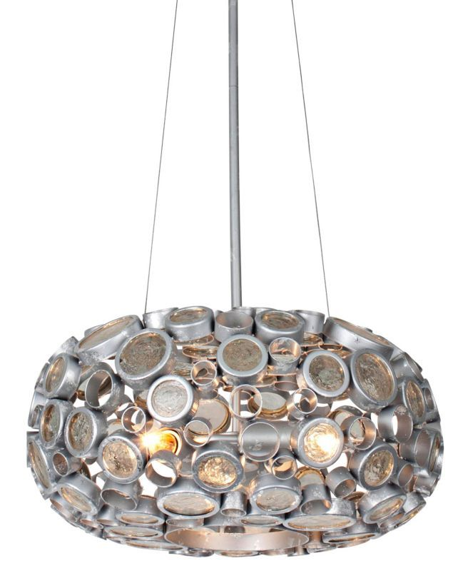 """Fascination Nevada Reclaimed Glass 18-Inch-W Chandelier - (also avail in 11"""" diam)"""