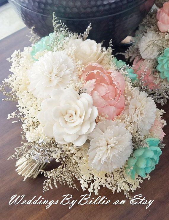 0f773a19a090a Mint Pink Coral Sola Wedding Bridal Bouquet, Burlap Lace, Sola ...