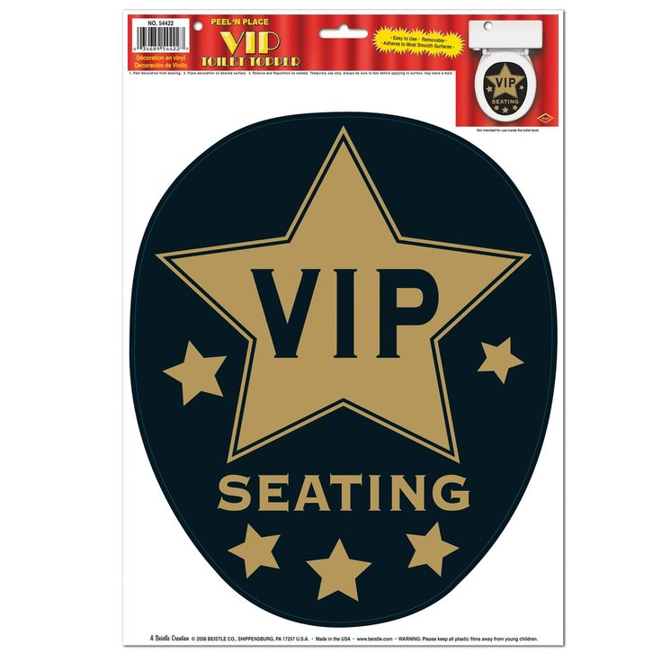 VIP Toilet Topper Peel 'n Place.  This novelty item will impress your party goers when they visit the smallest room in the house! This decal clings to your toilet seat.  Includes (1) VIP Toilet Topper Peel 'N Place decoration. decal size: 27.9 cm x 34.3 cm; reuseable, and can be used on windows!!