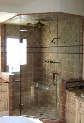 Corner showers showers and tile on pinterest for Bathroom enclosure designs