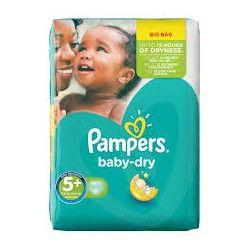 Pack 43 Couches Pampers de la gamme Baby Dry de taille 5+ sur 123 Couches