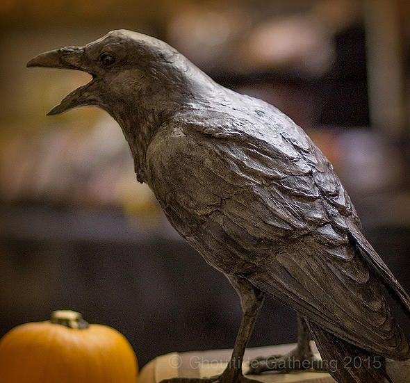 Ghoultide Gathering Halloween Art Show | realistic paper-mache sculpture of a crow by Lori Hough (fantastic!)