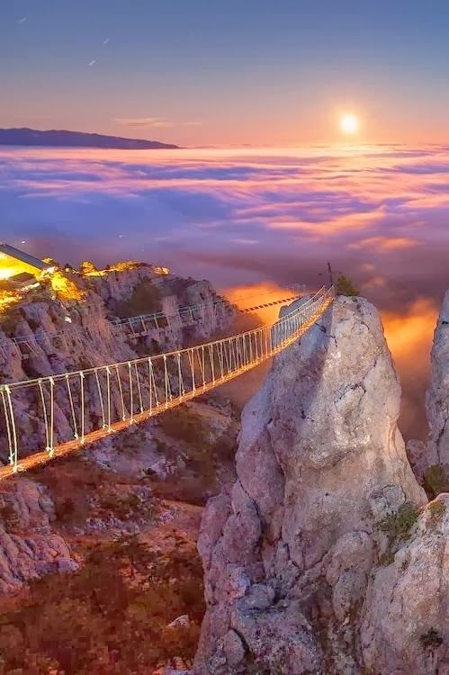 Mount Ai-Petry at Night, Crimea, Ukraine. So beautiful, looks like the stairway to Heaven