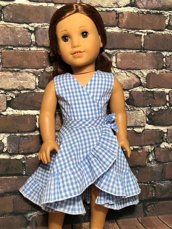 "Blue Ruffle Dress Fits 18/"" American Girl Doll Clothes"