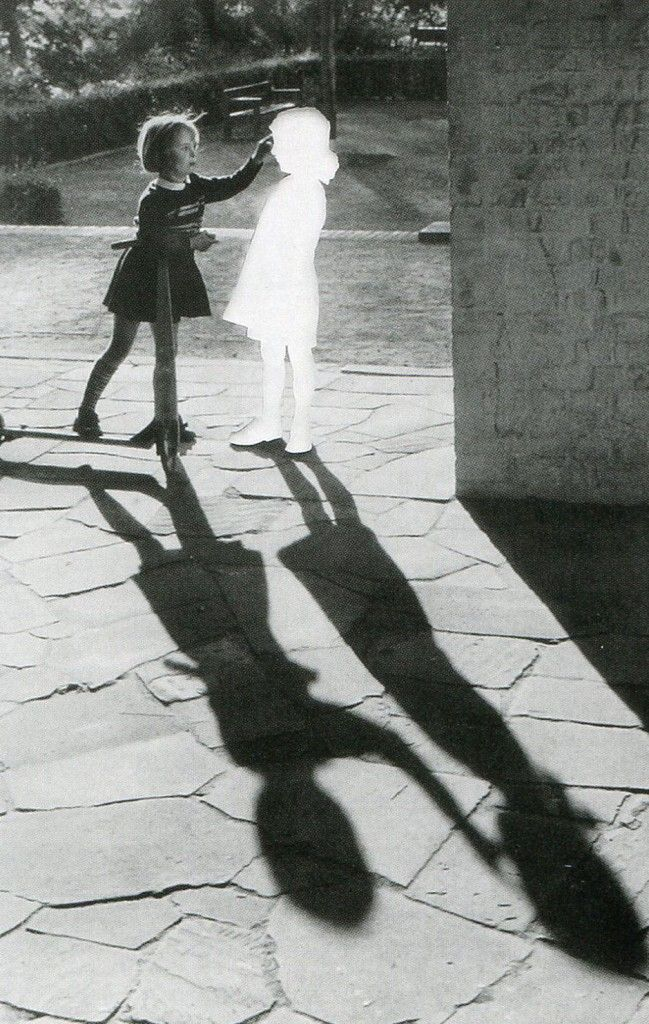 Hans-Peter Feldmann Untitled (Two girls with a shadow). Clipped image pasted on cardboard and framed. 60 x 80 cm.