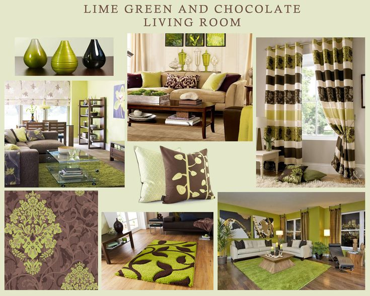 Lime Green And Chocolate Living Room