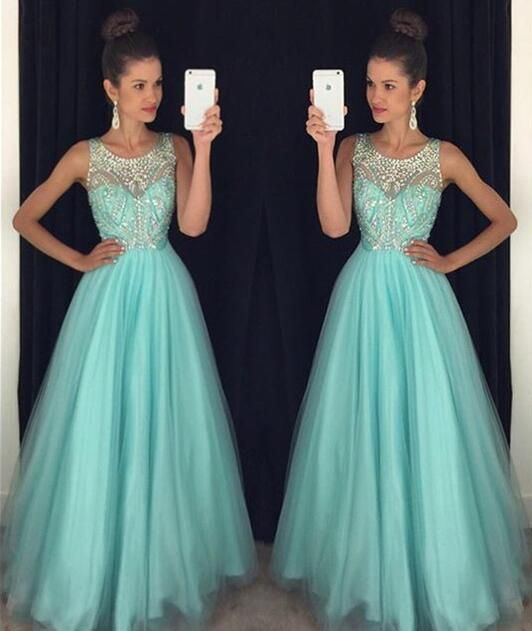 Mint Green Prom Dresses,Backless Evening Gowns,Sexy Formal Dresses,Beaded Prom Dresses,2016 Fashion…