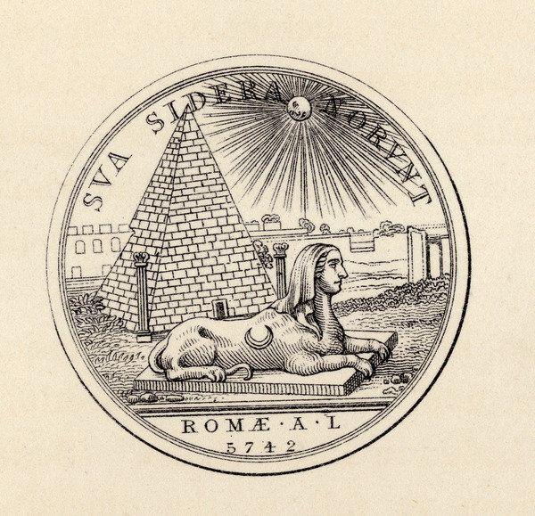 """Szabadkőműves pecsét metszete egy 1883-as kiadású londoni könyvből (Thomas C. Jack: The History of Freemasonry, III. kötet). A képen felismerhető Cestius római piramisának ábrázolása. A felirat: Sua Sidera Norunt (Vergilius Aeneis-ében [VI.637] szereplő szavak: """"[Más a nap is, mely süt,] más csillag csillog az égen."""" A dátum: 1742."""