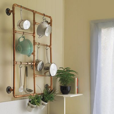 You can assemble this cookware holder in just a couple of hours using everyday plumbing parts. Push-together tees and elbows take away the need for messy soldering, and brass polish will make the copper shine like a new penny.