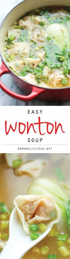 Wonton Soup - A super easy, light and comforting wonton soup that you can make right at home - and it tastes 1000x better than ordering out! #food #yummy #delicious