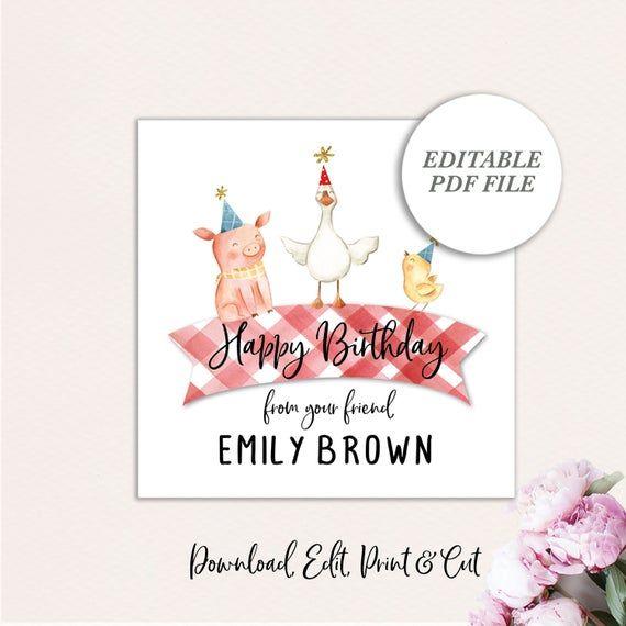 Kids Printable Gift Tags, Farm Animal Gift Tag, Birthday Gift Tags, Gift Enclosu… – Products