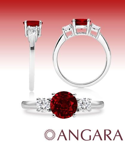 Angara Camber Three Stone Ruby and Diamond Ring in 14k White Gold eueIRaYft
