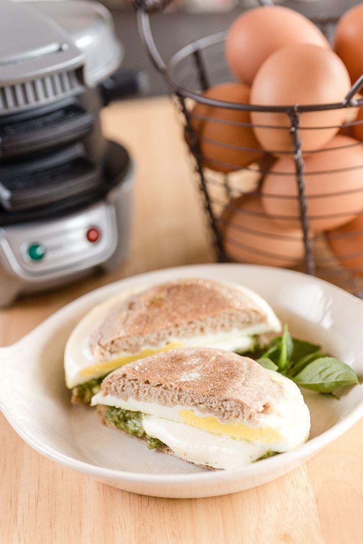 Pesto and Mozzarella Breakfast Sandwich