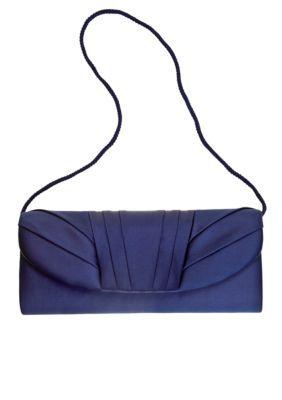 JESSICA MCCLINTOCK Navy Satin Flap Evening Bag