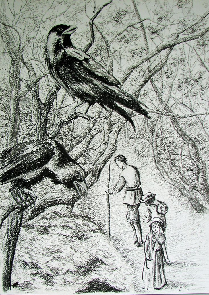 """https://flic.kr/p/z6Q5wY   Hansel and Gretel   """"Hansel and Gretel"""" Illustration Charcoal and Ink on Watercolour Paper www.websterartgallery.com"""