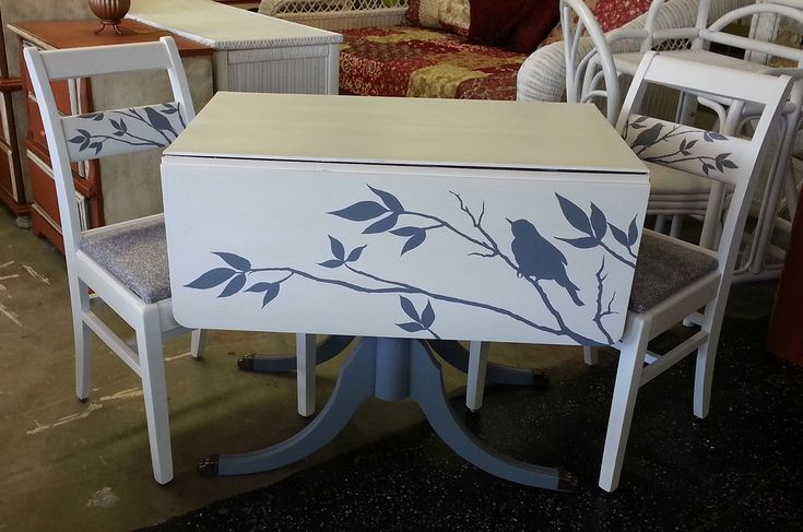 Hand Painted Drop Leaf Table With Two Chairs At Just