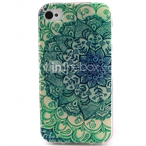 fiori materiale modello tpu verde cassa del telefono morbida per iPhone 4 / 4S | MiniInTheBox