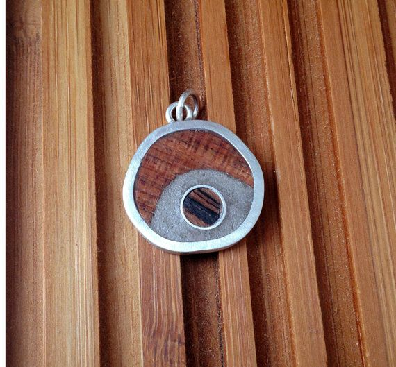 Sterling silver, wood and cement (concrete) pendant only, necklace sold separately
