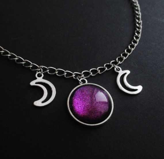 triple moon choker by OfStarsAndWine on etsy  nu goth, pastel goth, alternative fashion, gothic