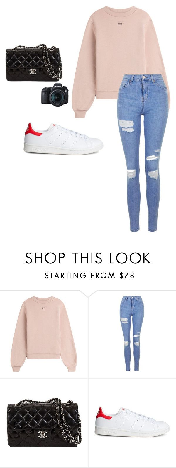"""Monica geuze #2"" by merelesselaar on Polyvore featuring mode, Off-White, Topshop, adidas en Eos"