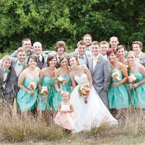 Sea Foam Green and Gray Wedding Party Attire