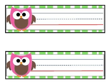12 OWL DESK NAME TAGS - TeachersPayTeachers.com