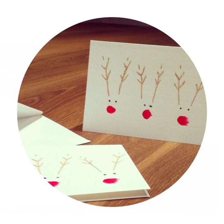 Weihnachtskarte Rentier Rednose