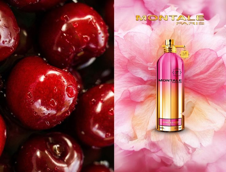 MONTALE Intense Cherry. From its top notes, Intense Cherry delights with juicy fruit sweetness, composed of intense chords of ripe black cherry and sparkling citrus. Warm heart of the composition is a bouquet of roses, jasmine and patchouli, generously sweetened with licorice and vanilla. Woody base gives durability to the fragrance.