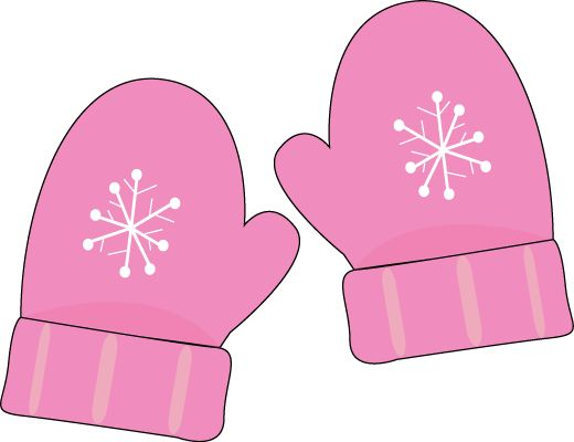 cute snowflake clipart | Pink Mittens Clip Art - pair of pink Mittens with a snowflake pattern.