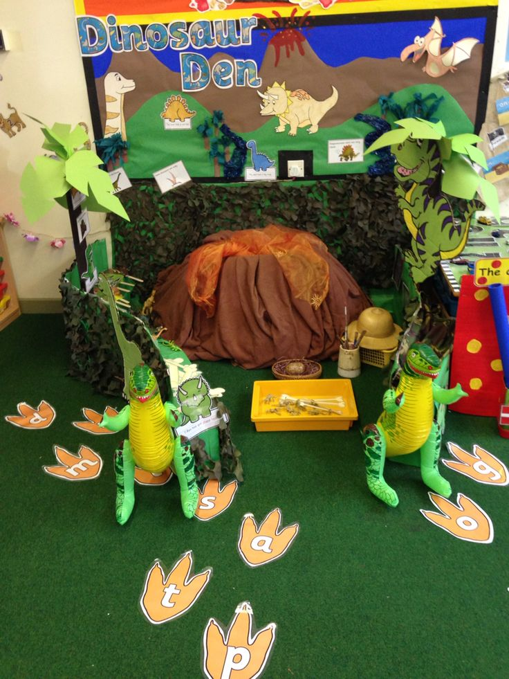 Dinosaur den role play for reception class.