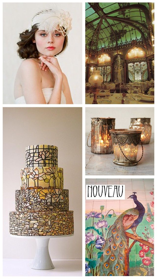 Art Nouveau Wedding INspiration & Ideas; wedding cake, decor, decorations, peacock, 1920's flapper