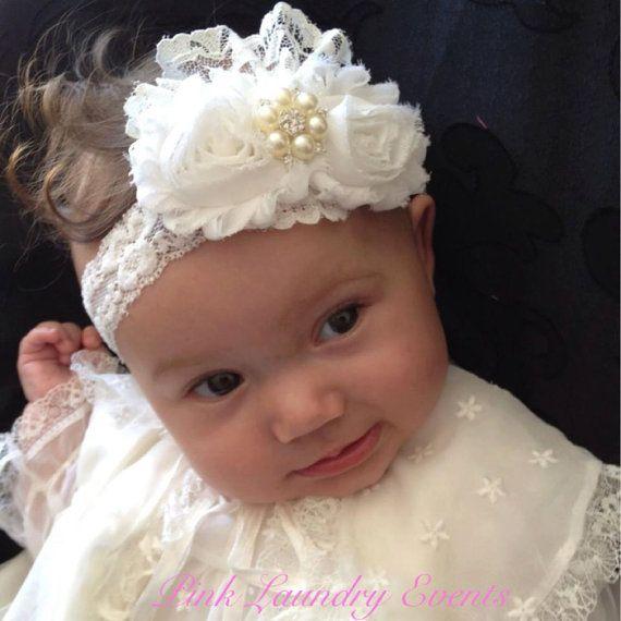Vintage Christening Headband .. Baby Baptism Headband  Baby Girl Headband . Newborn Headband Shabby Ivory with Lace Headband on Etsy, $15.00