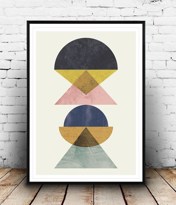 Abstract poster minimalilst print mid century modern by Wallzilla