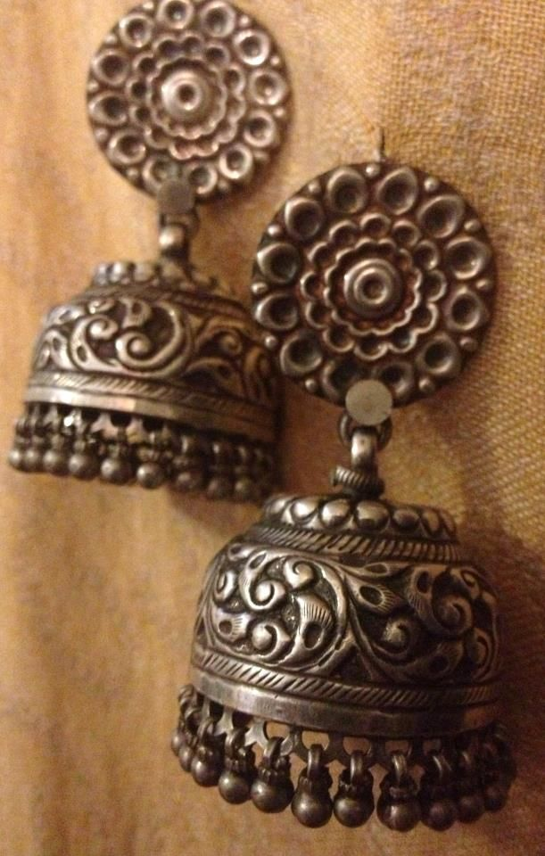 silver jhumkas my collection