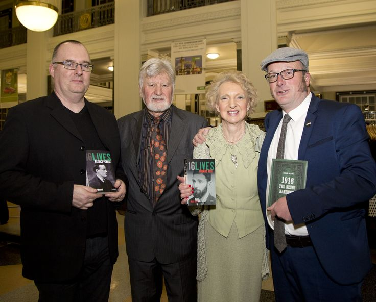 Ruan O'Donnell, Michael o'Brien, Meda Ryan and Lorcan Collins at the launch of the final books in the 16 Lives series
