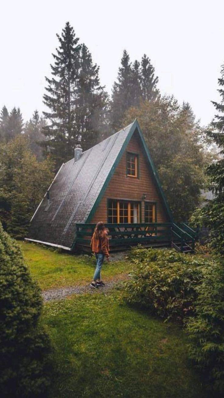 A Frame Cabin, A Frame House, Cabana, Cabins And Cottages, Cabins In The Woods, Cottage In The Woods, Cozy Cabin, Wooden House, Cabin Homes